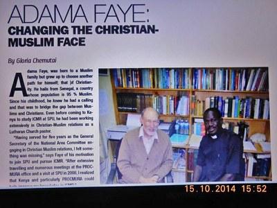 01. Le pasteur Pierre Adama Faye, de l'Église luthérienne du Sénégal, a obtenu un master en Islam et en relations islamo chrétiennes à l'Université Saint Paul de Limuru, Kenya.
