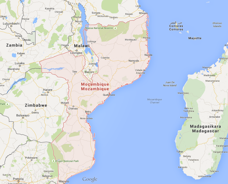 Carte du Mozambique, Source : Google Maps