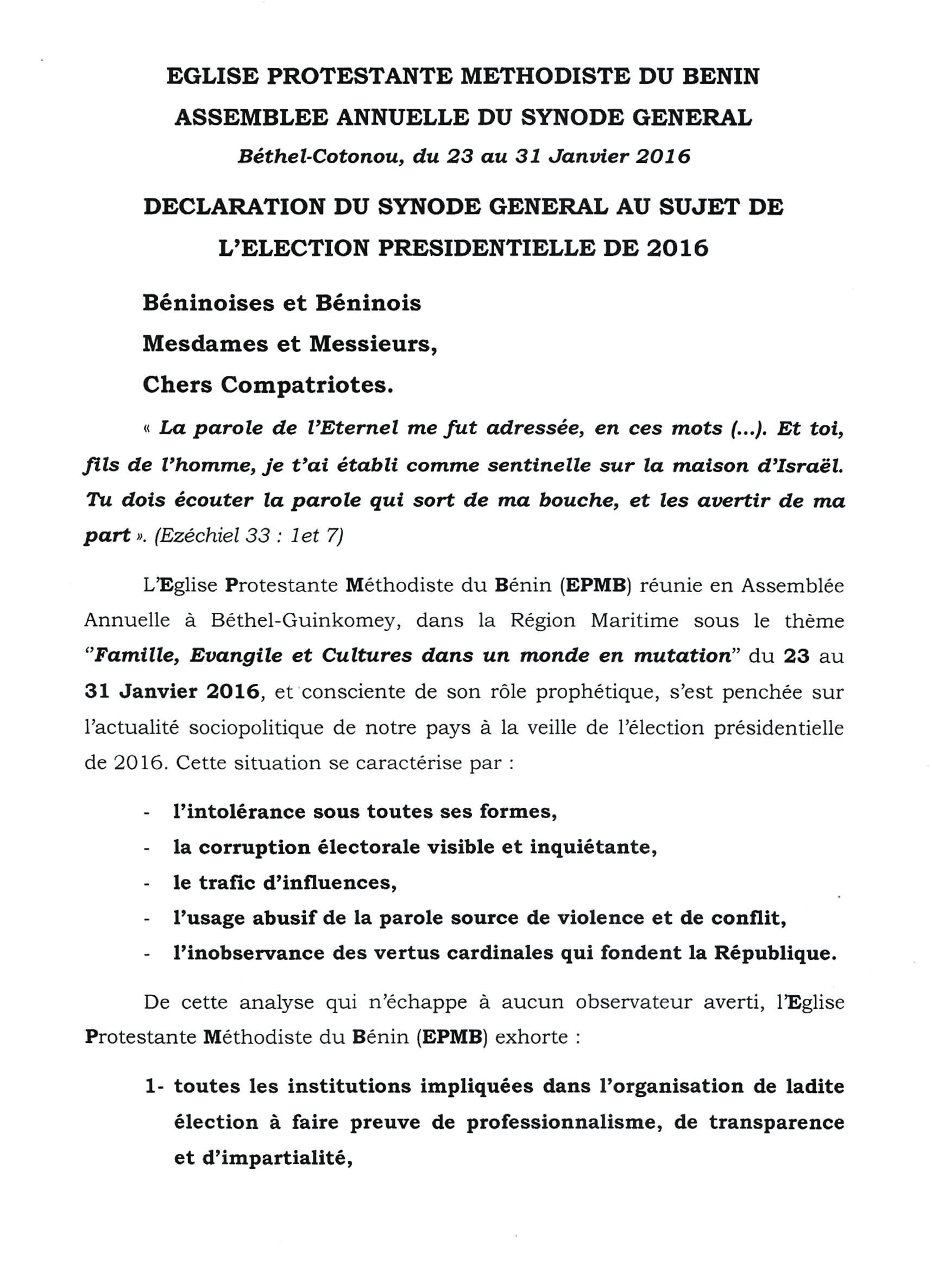 Déclaration du synode, partie 1